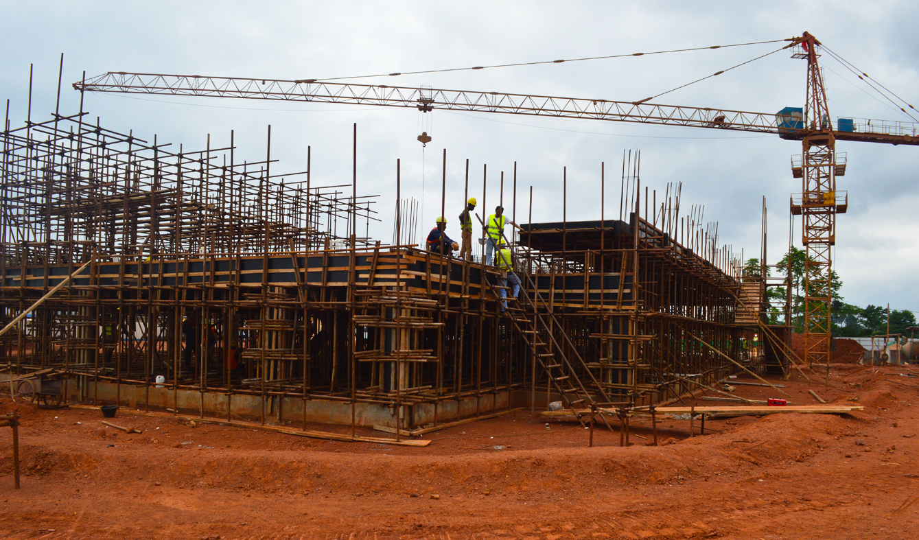 Progress level of construction works of the CCAA headquarters building in Yaounde-Nsimalen as at June 12, 2019.