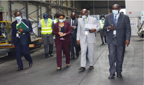 Madam the Director General on a working visit to Nsimalen Airport on the 9th  of February 2021.