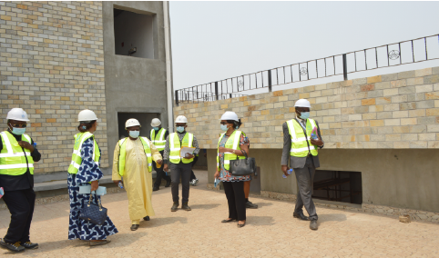 Visit by the administrators of the CCAA to the construction sites undertaken by the structure, situated at the entrance of the Yaoundé-Nsimalen airport on the 18th of February 2021.